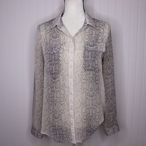 Old Navy Sheer Snake Print Button Up Size M